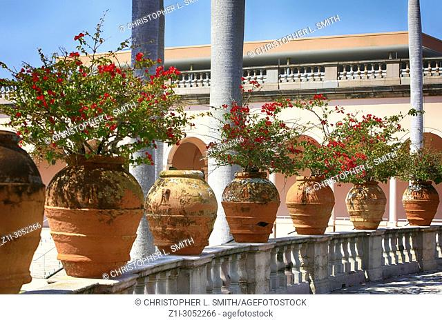 Large Terracotta pots in the garden at the Ringling Museum of Art in Sarasota FL, USA