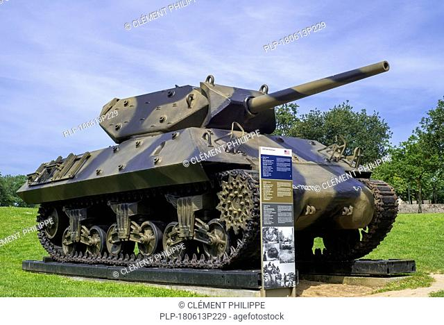 American M10 tank destroyer at the Overlord Museum near Omaha Beach about WW2 Allied landing during D-Day, Colleville-sur-Mer, Normandy, France