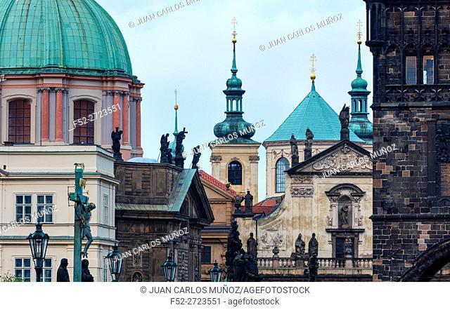 Charles Bridge, Church of St. Francis of Assisi, Klementinum, Church of St. Salvatore, Prague, Czech Republic, Europe