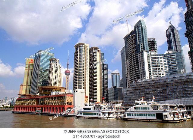 China, Shanghai, Huangpu River, Pudong Xin Qu Lujiazui Financial District, Jinling East Road Dongchang Road Ferry, view from, city skyline, skyscrapers