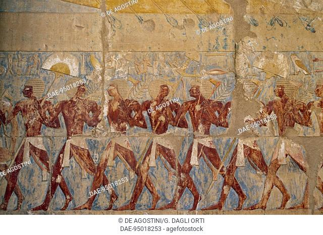 Parade of the Queen's soldiers in honour of the goddess Hathor, painted relief, Chapel of Hathor, Mortuary Temple of Hatshepsut, Deir el-Bahari