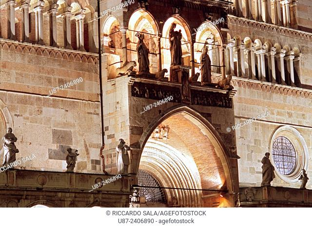 Italy, Lombardy, Cremona, the Duomo Cathedral Detail Facade At Night