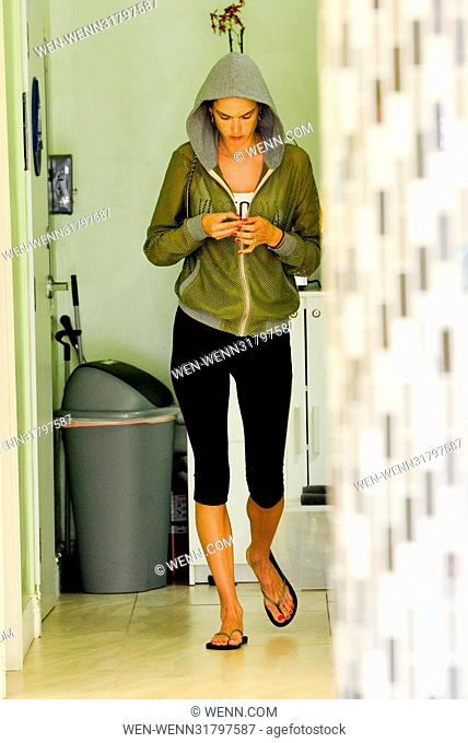 Alessandra Ambrosio has a casual day at the nail salon and stops by the bank Featuring: Alessandra Ambrosio Where: Santa Monica, California