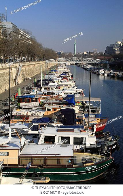 Canal with yachts between the Seine river and the Place de la Bastille, Paris, France, Europe
