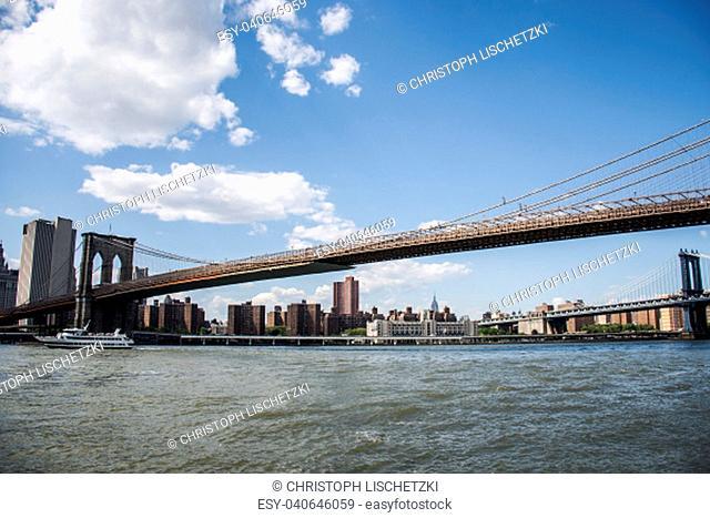 New York City USA Skyline Big Apple Hudson River and Brooklyn bridge 2