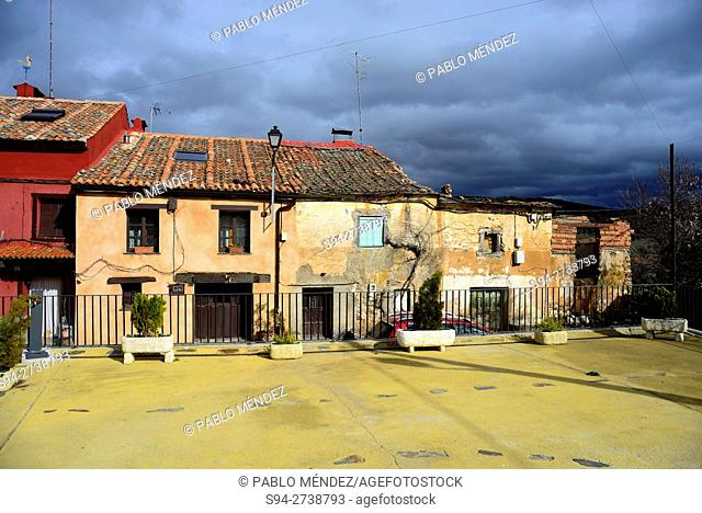"Square of San Benito in El Negredo """"red village"""", Segovia, Spain"
