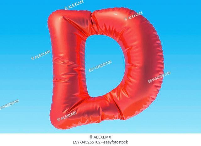 Red foil balloon letter D, 3D rendering