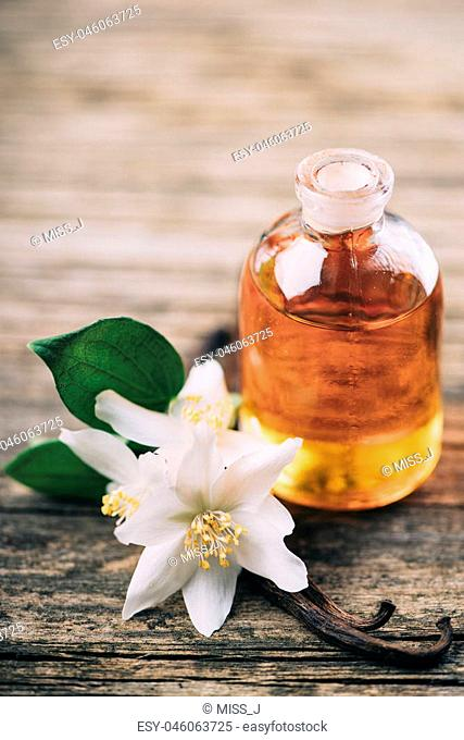 Essential oil with jasmine flower and vanilla. Aromatherapy massage oil on rustic wooden background