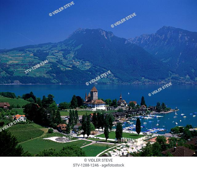 Holiday, Lake, Lake thun, Landmark, Mountains, Spiez, Switzerland, Europe, Tourism, Travel, Vacation