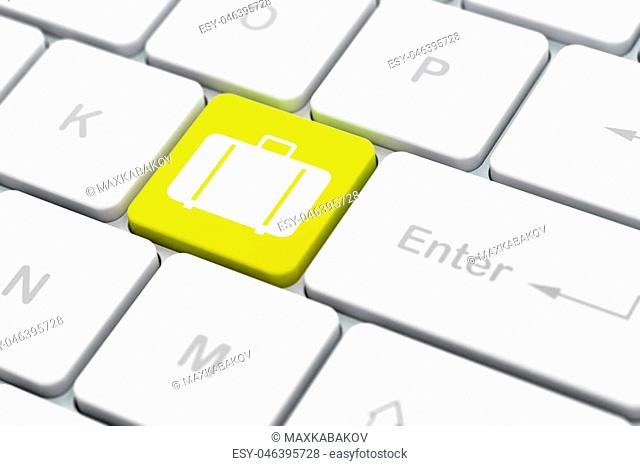 Vacation concept: computer keyboard with Bag icon on enter button background, selected focus, 3D rendering