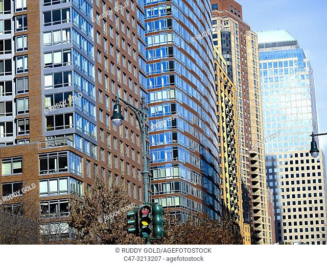 New York City, US. Buildings along West Street in Lower Manhattan as seen from Battery Pl