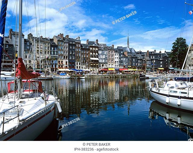 Picturesque view of Honfleur harbour, situated on the south bank of the Seine Estuary