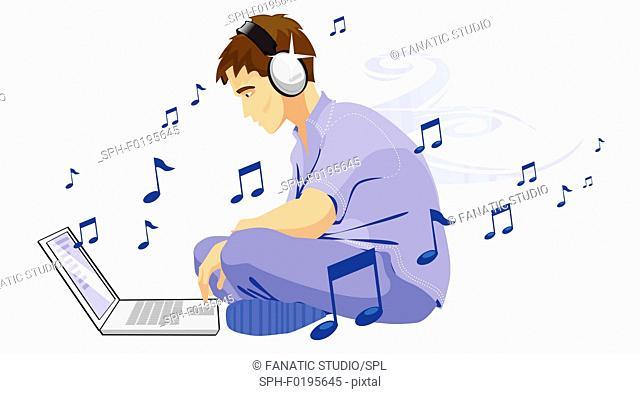 Man downloading music from internet, illustration