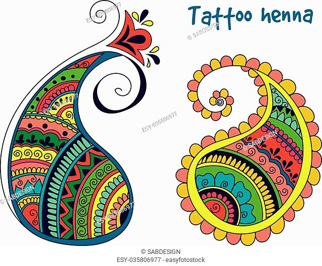 Vector abstract pattern of tattoo henna paisley. Stock mehndi illustration for design on white background - indian cucumbers
