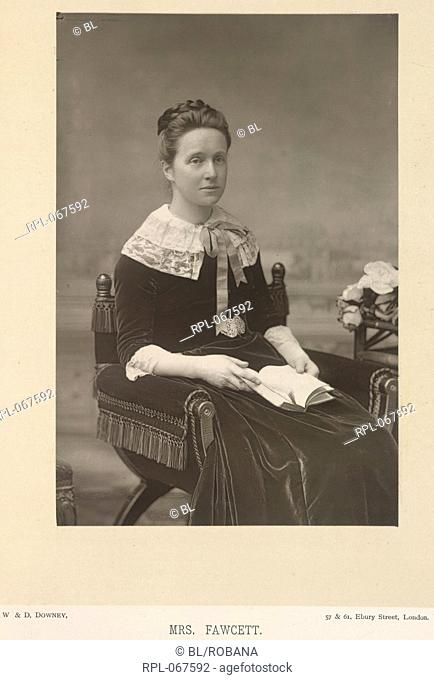 Dame Millicent Fawcett, nee Garrett 1847-1929. English suffragette and educational reformer. Portrait. Image taken from The Cabinet Portrait Gallery