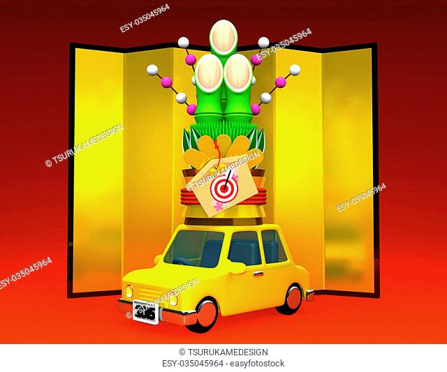 Kadomatsu On Car.3D render illustration For The Year Of The Sheep,2015.Isolated On Red