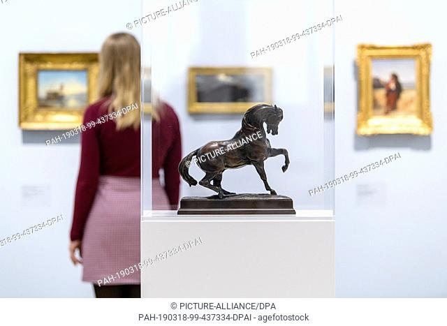 """18 March 2019, Bavaria, München: The bronze model """"""""Turkish Horse"""""""" by Antoine-Louis Barye (ca. 1835/1840) can be seen in the exhibition """"""""Nature as Art -..."""