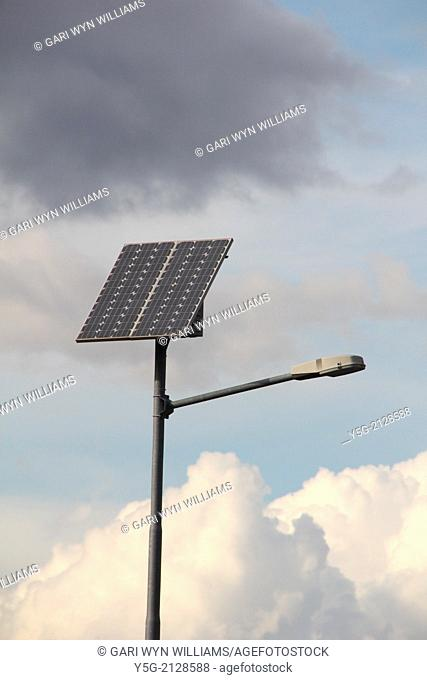 solar panel on street lamp light in rome italy