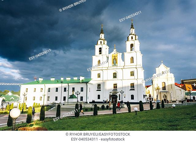 The Cathedral Of Holy Spirit In Minsk - Main Orthodox Church Of Belarus. Famous Landmark