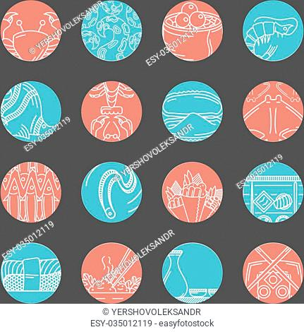 Set of vector flat red and blue round icons with white line abstract elements of seafood menu on black background