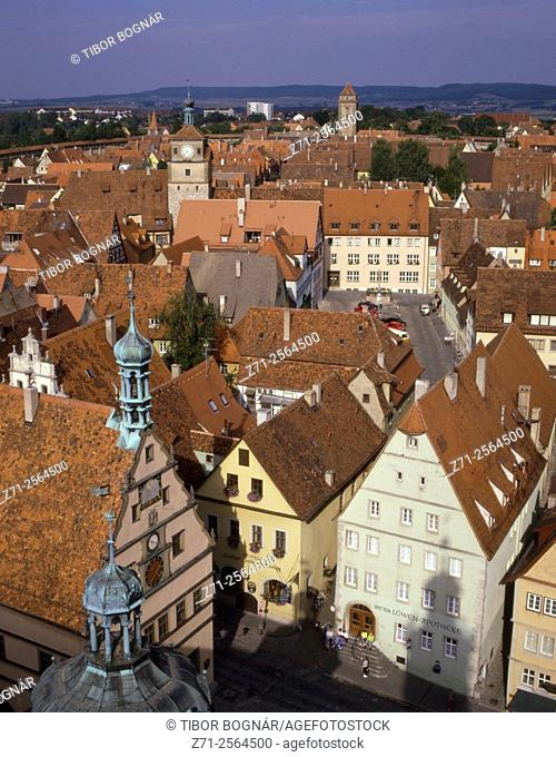 Germany, Bavaria, Rothenburg ob der Tauber, aerial view,