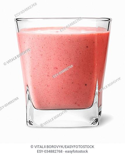 Banana strawberry smoothies in glass isolated on white background