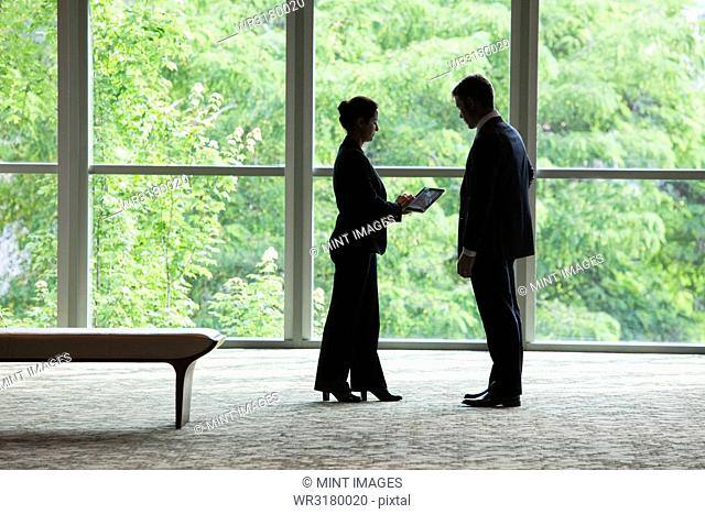 Caucasian businessman and woman looking at a computer notebook in front of a large window in a business centre lobby