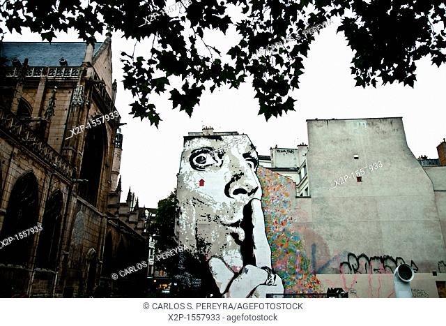 Graffiti near of St  Merri Church in Le Marais, Paris, Ile de France, France