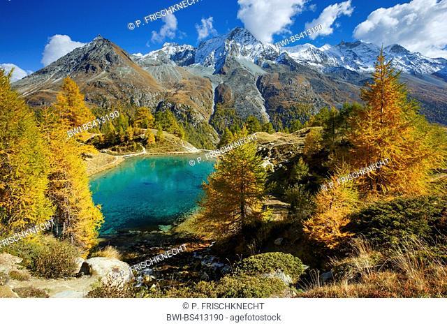 Lac Bleu, Grande Dent de Veisivi, Dent de Perroc, Aiguille de la Tsa, Switzerland, Valais