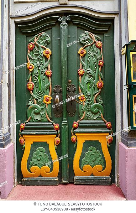 Nordhausen colorful green door in Thuringia of Germany