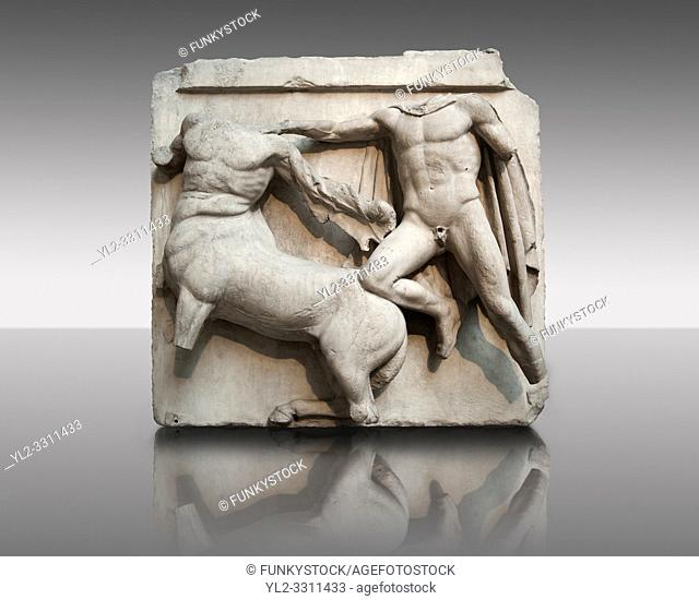 Sculpture of Lapiths and Centaurs battling from the Metope of the Parthenon on the Acropolis of Athens No III. Also known as the Elgin marbles