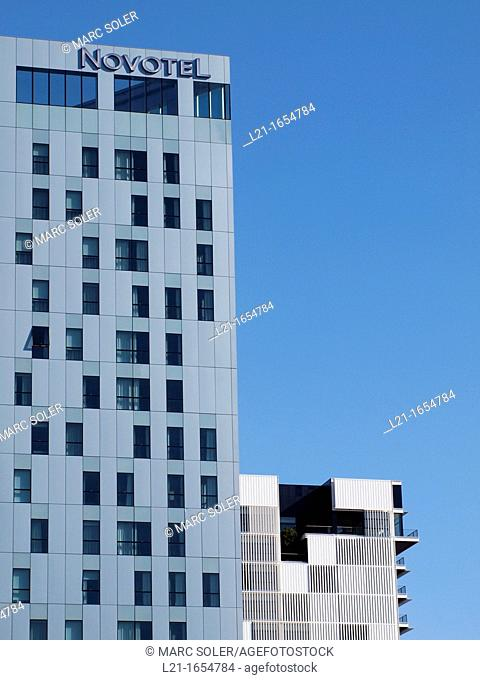 Detail of Novotel Barcelona City hotel (left) and detail of RBA Editorial Group headquarters (right), 22@ district, Barcelona, Catalonia, Spain