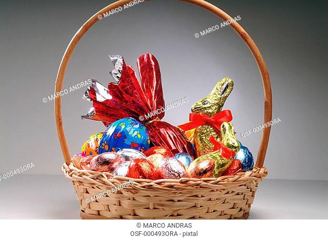 many chocolates inside the Easter nest
