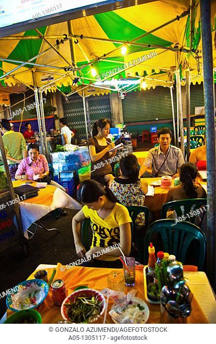 Night Restaurants around Ben THanh Market. Ho Chi Minh City (formerly Saigon). South Vietnam
