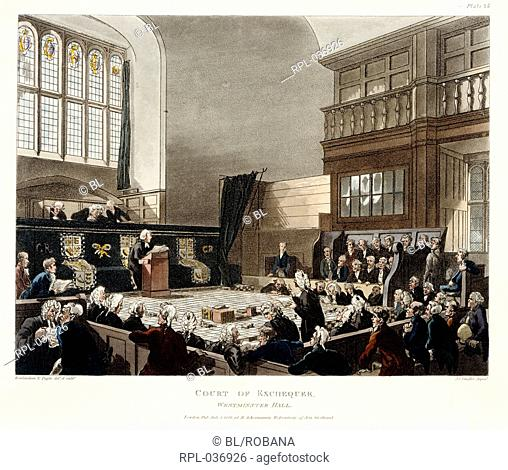 Court of Exchequer. Image taken from The Microcosm of London. Originally published/produced in R. Ackermann: London 1808 - 1811