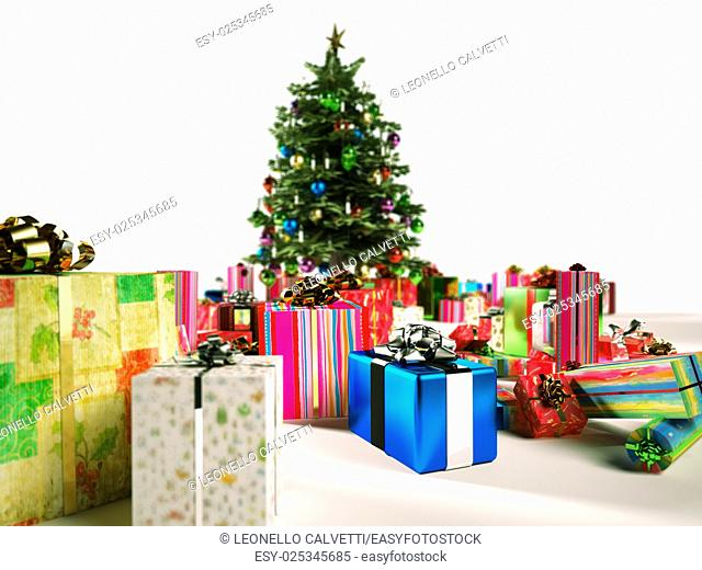Christmass tree with several gifts around. Depth of field on foreground and background, to spot one gift in focus
