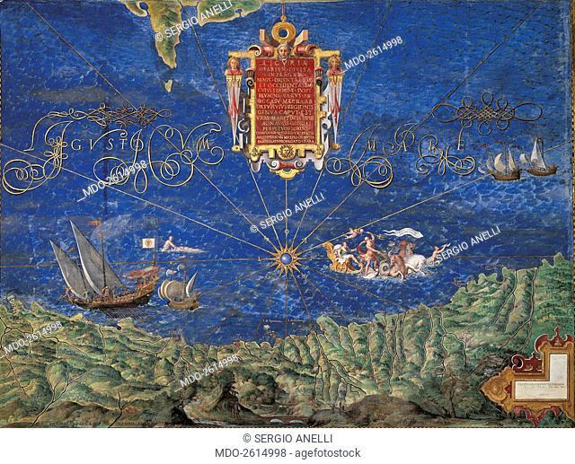 Liguria (Liguria), by Ignazio Danti, 16th Century, fresco. Vatican City, Vatican Museum, Gallery of the Geographic Pictures. Whole artwork view