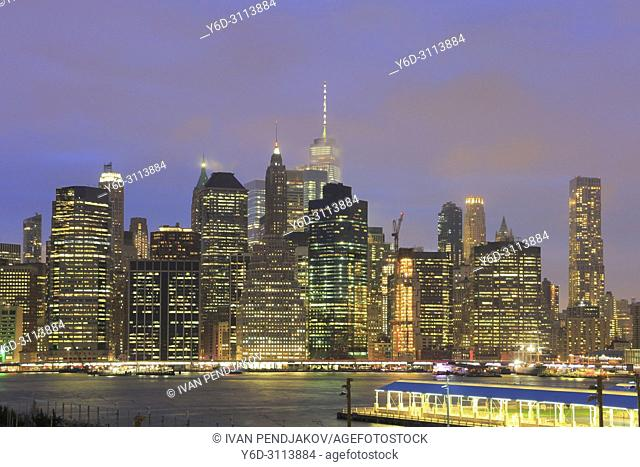Manhattan Skyline at Dusk, New York, USA