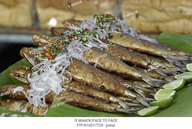 Thailand, prepared fish on banana leaves, close-up