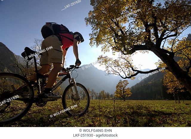 Mountain bike tour in Autumn in the Karwendel mountains, Grosser Ahornboden, Eng, Tirol, Austria, Europe