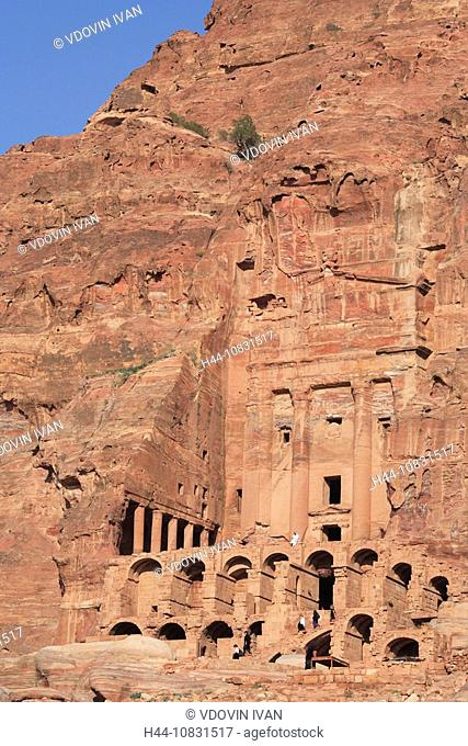 Urn Tomb, Petra, Jordan, Middle East, Oriental, Ancient, Old, Nabbatea, Nabbatean, archeological, Site, Architecture