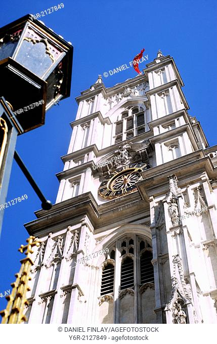 Clock tower forming part of the west facade of Westminster Abbey on a sunny Summers day in the heart of London, England