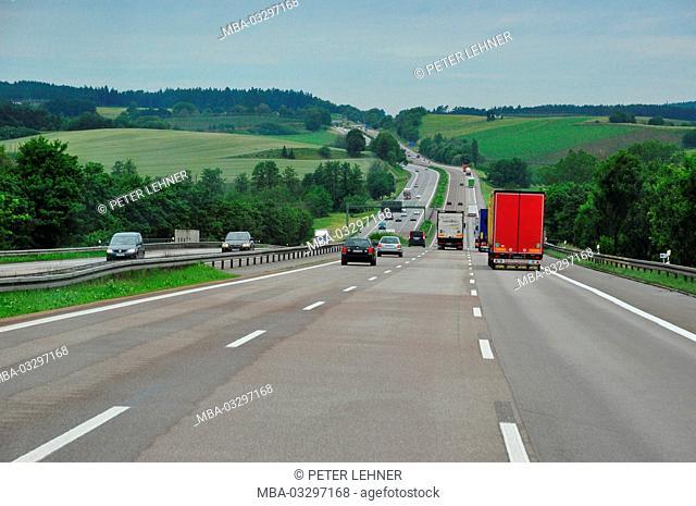 Germany, highway A9, multi-lane