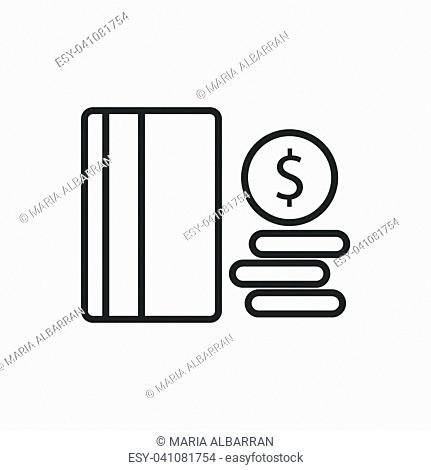 Credit card line icon on a white background. Vector illustration