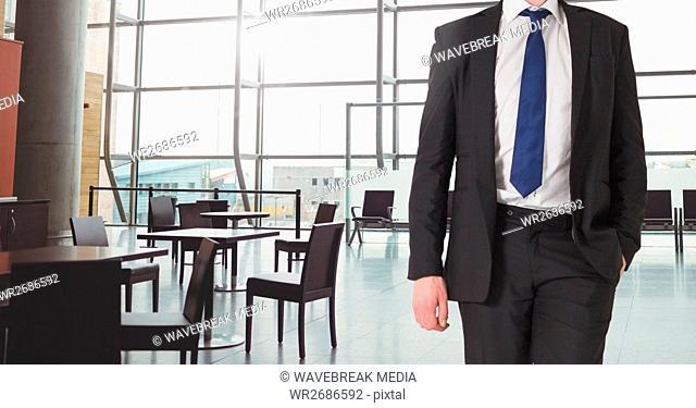 Businessman Torso against a reception area background