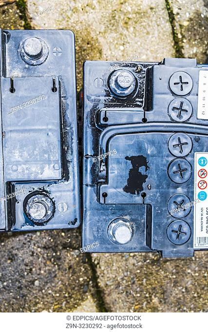 two car batteries seen from above, baden-wuerttemberg, germany