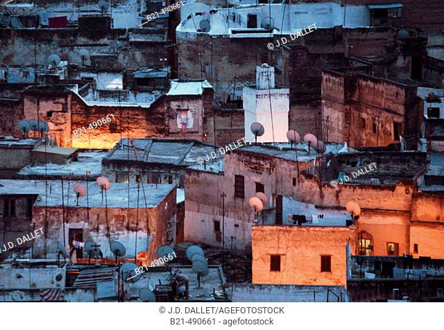 Medina of Fes, covered with statelite dishes. Fes. Morocco