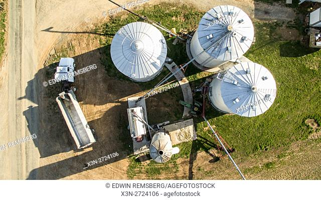 Aerial view of silos on a farm in Maryland