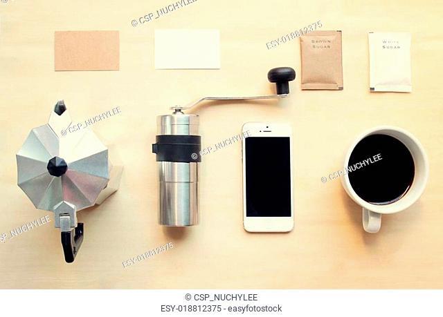Coffee branding identity mockup set with retro filter effect