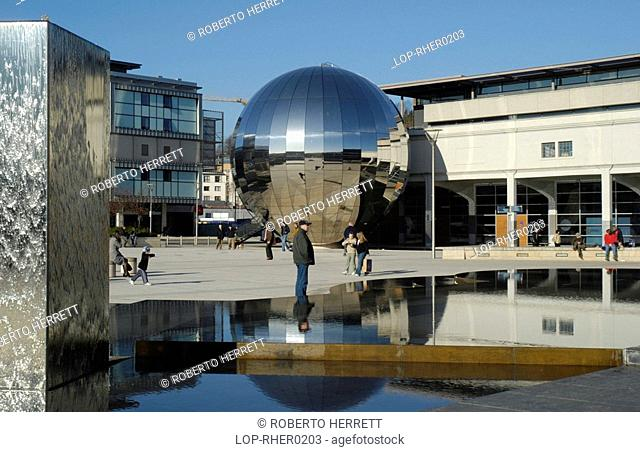 England, Bristol, Bristol, Reflections in the sphere infront of the At Bristol centre